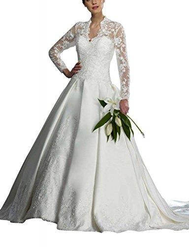 GEORGE BRIDE Koenigs aermeln V in Satin schiere voller Laenge Ausschnitt Spitzen Brautkleider mit Weiß Hochzeitskleider wwprqf1