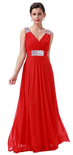 Conail Coco Women Ruched Waist Rhinestone Casual Tulle Semi-Formal Long Wedding Bridesmaid Dress (XXLarge, 44Red)