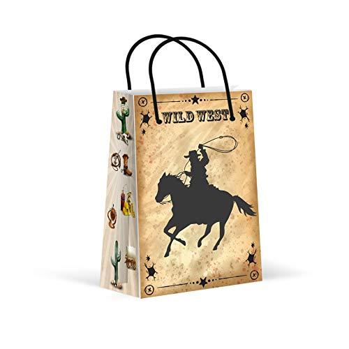 (Premium Cowboy Party Bags, Wild West Favor Bags, New, Treat Bags, Gift Bags, Goody Bags, Party Favors, Party Supplies, Decorations, 12 Pack)