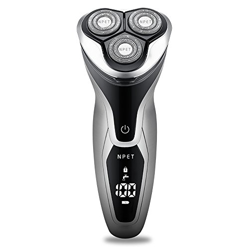NPET-ES8109-Mens-Electric-Shaver-USB-Quick-Rechargeable-Electric-Razor-IPX7-Waterproof-Wet-Dry-Rotary-Shavers-with-LED-Display-Travel-Lock-Pop-Up-Trimmer-Silver-Black