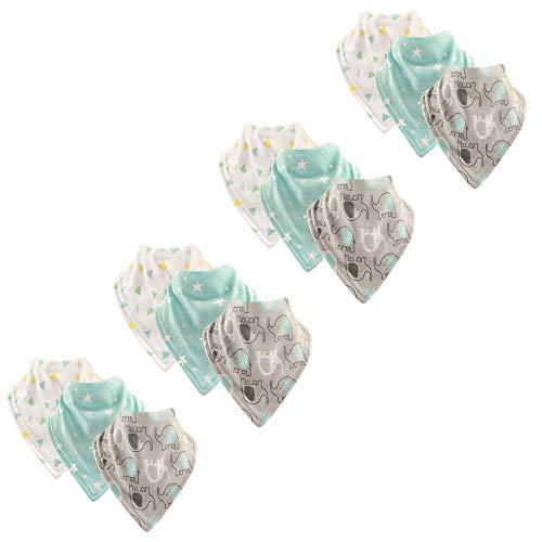 Luvable Friends Baby Basic Cotton Bandana Bib Set, Elephant 12 Pack, One Size ()