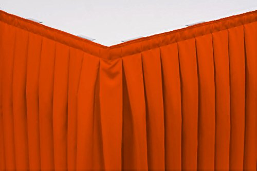 (7 Foot Box Pleat Table Skirt w/ 3/4 Inch Hook-and-Loop Fastener Clips, Flame Retardant Basic Polyester, 29 Inch High, Orange)