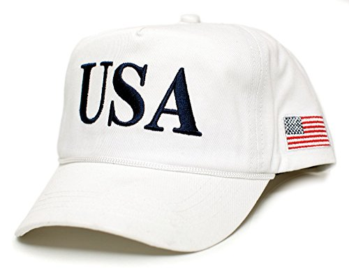 USA 45 Trump Make America Great Again Embroidered hat One Size Adult Red, White Cap (White)