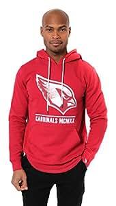 NFL Men's Arizona Cardinals Fleece Hoodie Pullover Sweatshirt Embroidered, Small, Red