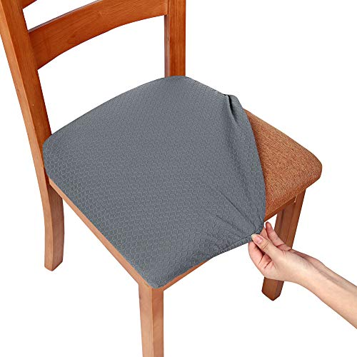 Cushion Seat Cover (Smiry Stretch Spandex Jacquard Dining Room Chair Seat Covers, Removable Washable Anti-Dust Dinning Upholstered Chair Seat Cushion Slipcovers - Set of 4, Grey)