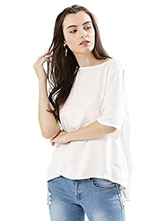 Koovs White Round Neck Blouse For Women