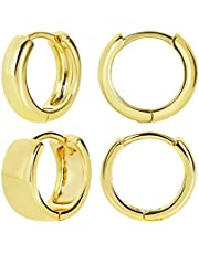 FAMARINE 2 Pairs Small Hoop Earrings for Women Chunky Hoop Huggie Earrings for Girls Men Earrings Jewelry Gift