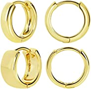 FAMARINE 2 Pairs 14K Gold Plated Hoop Huggie Earrings for Women Gift, Minimalist Chunky and Tiny Hoop Earrings