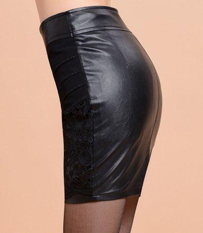 Helan Damen hoher Hufte Lace PU-Leder Bodycon Rock