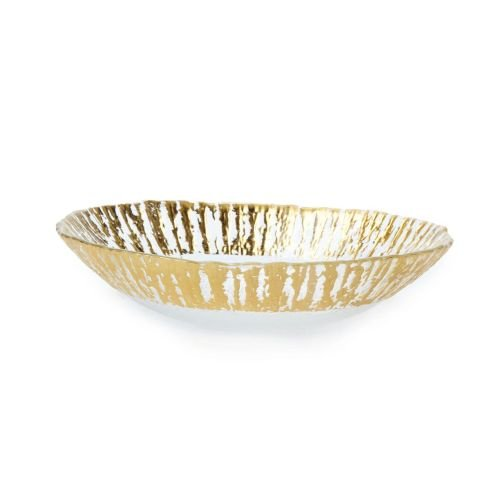 Vietri Ruffle Glass Gold Medium Serving Oval Bowl