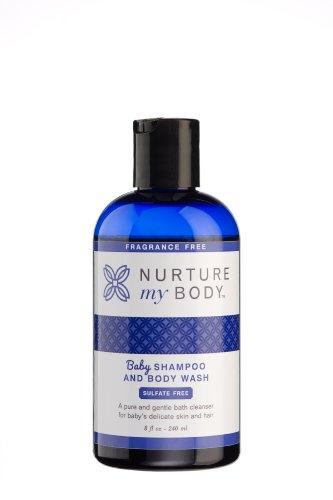 Nurture My Body Fragrance Free Organic Baby Shampoo & Body Wash SLS & Phthalate Free- Sensitive Skin, 8oz-240ml