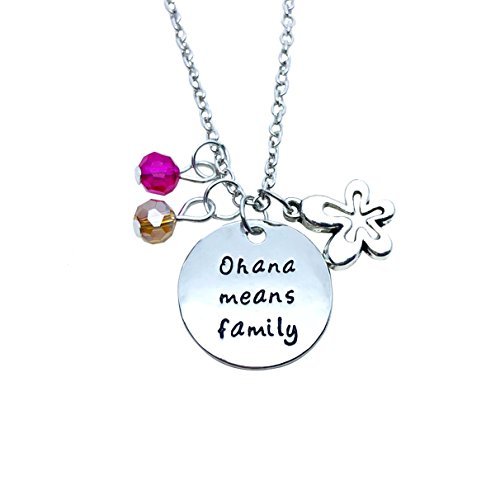 Family BBF Best Friends Necklace You are my Ohana Flower Pendant Gift (Style B) -