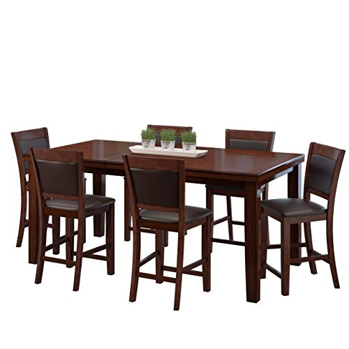 CorLiving DWG-880-Z2 7 Piece Counter Height Extendable Dining Set - Warm Brown Wood and Chocolate Brown Bonded Leather Chairs