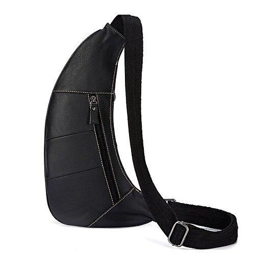 Gendi Herren Echtes Leder Sporttasche Wandern Reise Kreuz Brust Schulter Daypack Sling Taschen Schwarz pmwC20Gk