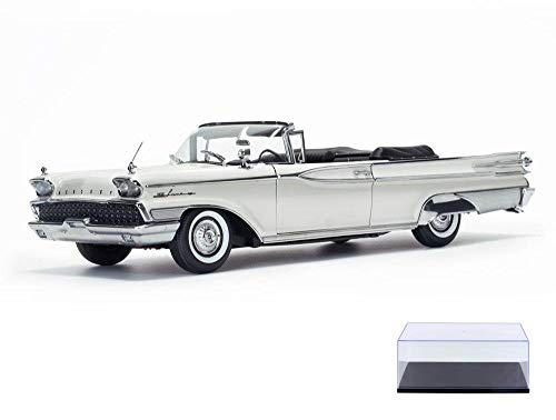 Mercury Park Lane Convertible - Diecast Car & Display Case Package - 1959 Mercury Park Lane Open Convertible, Marble White - Sun Star 5154 - 1/18 Scale Diecast Model Toy Car w/Display Case