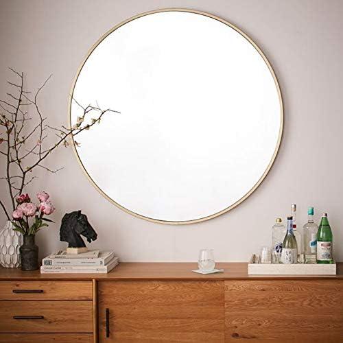 壁掛け鏡 浴室化粧鏡 サークル化粧鏡 壁飾り鏡 丸い鏡 、ラウンドゴールデンウォールミラーバスルームミラー、錬鉄フレームHDガラス化粧鏡、リビングルームの廊下の寝室に最適(直径:40/50/60/70 cm)