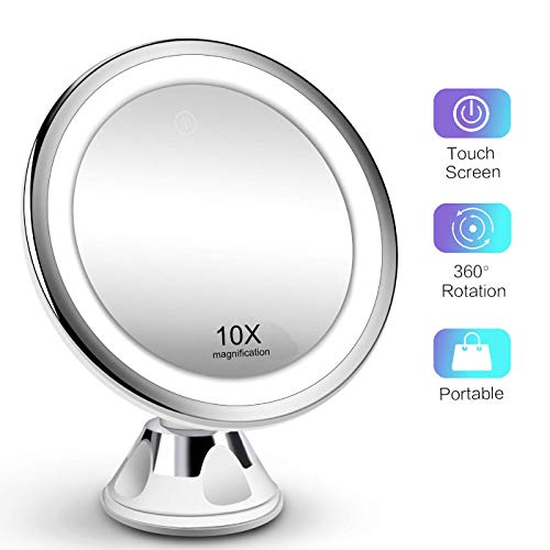 10X Magnifying Shower Mirror with Light, Touch Screen LED Lighted Facial Mirror Magnified Portable Compact 360 Rotation Suction Cup Wall Mount for Bathroom Travel