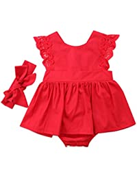 7b19f5684cb Baby Girls Tutu Dress Red Lace Romper Princess Party Skirt Bodysuit with  Headband Outfits