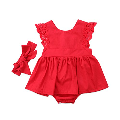 Christmas Baby Girls Tutu Dress Red Lace Romper Princess Party Skirt Bodysuit with Headband Outfits (Red, 0-6 Months)