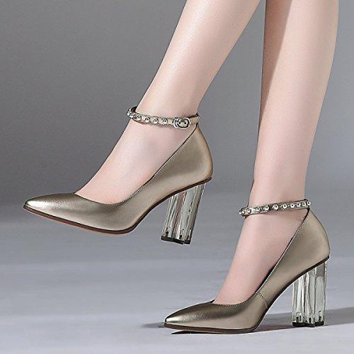DKFJKI Talons Cuir Talons Métalliques pour Champagne Chaussures Rivets Femmes Femmes Talons Cristal Boucles Profilés Chaussures Hauts en Simples rnqxRwrp