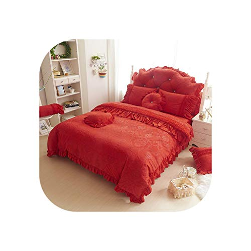 Sheep Shop-Bedspread Korea Style Beige White Bedding Sets 4/9Pcs Fleece Jacquard Winter Full Queen King Duvet Cover+Bedskirt+Pillowcases Girl Bed Set,Color 5,Queen Size 9Pcs