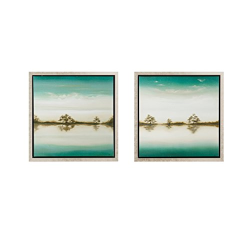 Trees Tranquil (MADISON PARK SIGNATURE Tranquil Trees 2 Piece Set Roll Gel Coat with Bronze Frame Green)