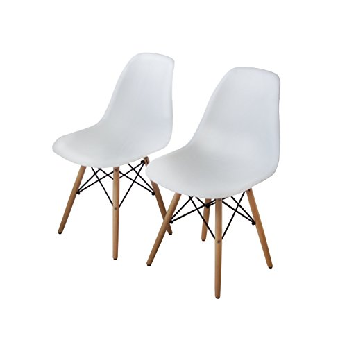 Buschman Set of Two White Eames-Style Mid Century Modern Dining Room Wooden Legs Chairs