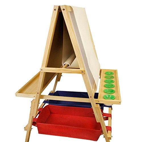 U.S. Art Supply Children's Cardiff Double-Sided Art Activity Easel with Chalkboard, Dry Erase Board, Paper Roll, 6 No-Spill Cups, 2 Storage Bins, 2 Trays - Kids Learn to Paint, Draw, Write, Have Fun by US Art Supply (Image #1)