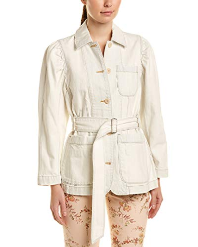 (LA VIE Womens Rebecca Taylor Belted Denim Jacket, Xs, White)