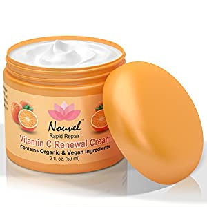 Nouvel Vitamin C Renewal Cream Vegan Face Moisturizer & Hand Cream with Certified Organic Ingredients, 2 fl. oz.