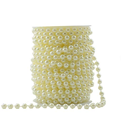 BoJia 99ft ABS 6mm Crystal Beads,Headdress Beads,Wedding Faux Pearls Beads, Wedding Garland,The Environmental Bead for Your Lovely Toys,Decorate Your Purse(30 Meter) (Ivory)