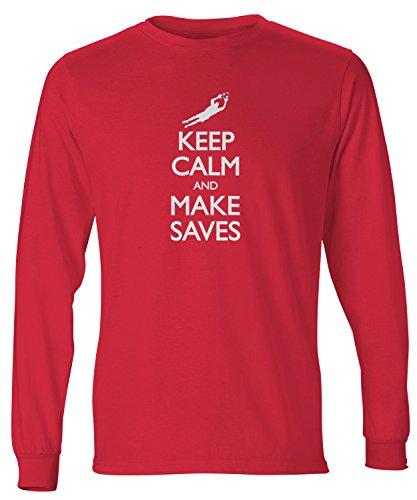- ShirtLoco Men's Keep Calm And Make Saves Soccer Long Sleeve T-Shirt, Deep Red 3XL
