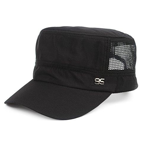 - Unisex Flat Top Baseball Cap Military Style Hat Quick Dry Mesh Sun Cap (Black)