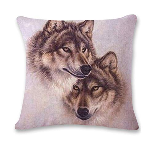 Pgojuni Cute Wolf Tower Flax Pillowcase Decoration Throw Pillow Cover Cushion Cover Pillow Case for Sofa/Couch 1pc (I) by Pgojuni_Pillowcases (Image #1)