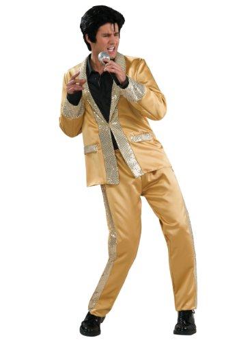 Elvis Deluxe Gold Costume, Gold, Medium -