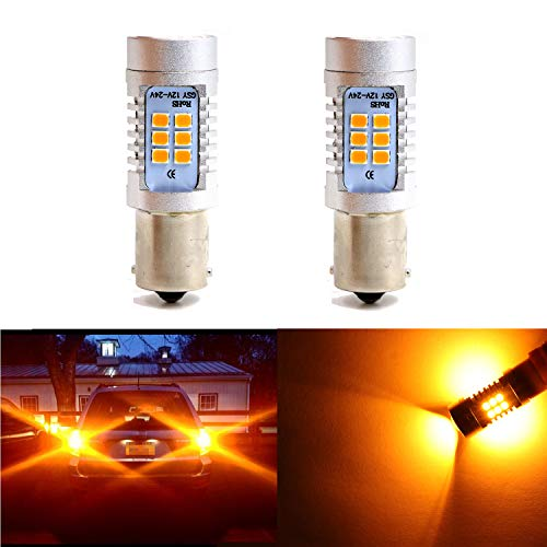 Extremely Bright Amber Yellow Light w/21 SMD LED 1156 1073 1095 2396 Bulbs for Turn Signal Blinker Lights, Sidemarker Lights, Corner Lights (Pack of 2) ()