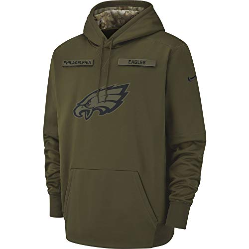 Nike Men's Philadelphia Eagles Therma Fit Pullover STS Hoodie Olive Canvas/Black Size Small