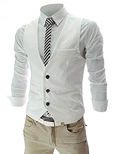 MAGE MALE Men's Slim Fit Suit Vests V-Neck Formal Business Sleeveless Dress Suit Separate Waistcoat (M, White) - Sleeveless Button Waist Shirt