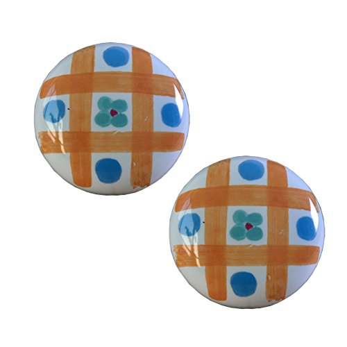 (Kylin Express Set of 2 38mm Plaid Flowers Ceramic Cabinet Knobs Drawer Pull Handles)