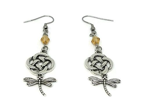 Outllander inspired, Drop Earrings with Celtic Knot, Dragonfly and amber-colored Bead - Handmade Jewelry Silverinestore