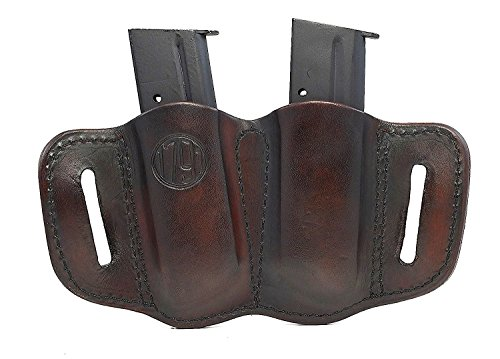 1791 Gunleather 2.1 Mag Holster - Double Mag Pouch for SINGLE STACK Mags, OWB Magazine Pouch for belts - Signature Brown
