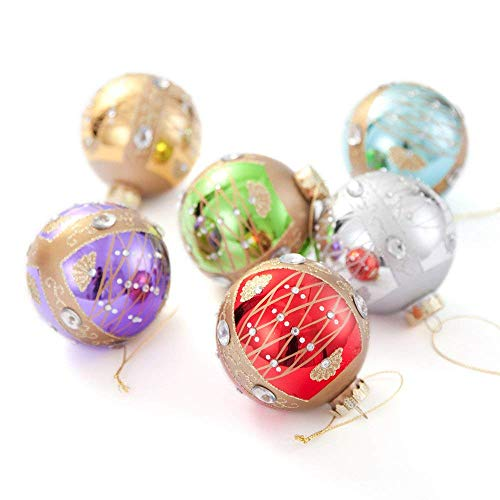 Digibig Christmas Trees Ornaments for Xmas Tree Decorations Glass Ball Hanging Decors for Wedding Party Seasons Decoration 3.15 x 6 Pack(G1701T)