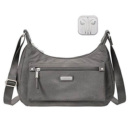 Cross Bagg Purse Body (Baggallini Out & About Shoulder Bag RFID Wristlet Bundle with Travel Earphones (Sterling Shimmer))