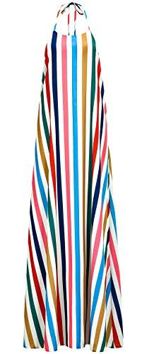 (Spaghetti Strap Sleeveless Halterneck Rainbow Striped Stripe Backless Long Maxi Swing Trapeze Smock Cami Slip Dress L)