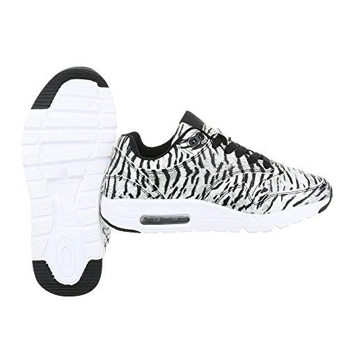 Ital-Design - Zapatillas de Material Sintético para mujer Weiß Schwarz KT946ORO