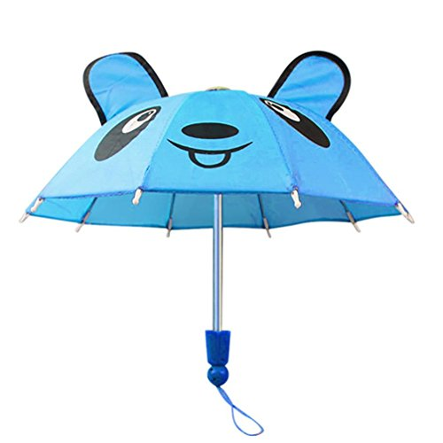 Shybuy Toys 18 Inch Doll Hot Pink Umbrella, Handle Loop, Open & closes Perfect For 18 Inch American Girl Dolls & More (Sky Blue)