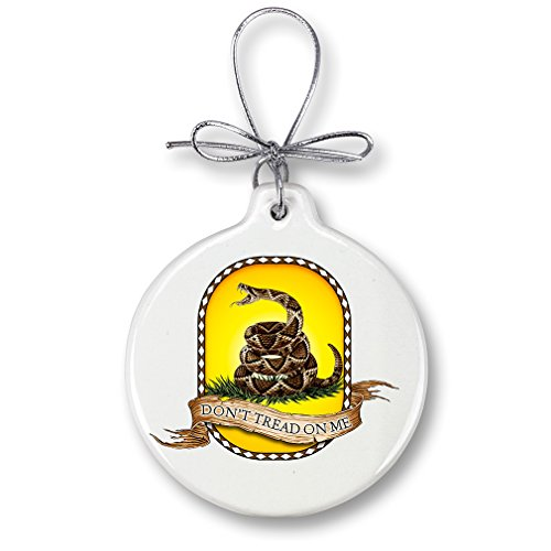 Christmas Ornaments – US Army Gifts for Men or Women – Armed Forces Ornaments with a Silver Ribbon – Don't Tread On Me Xmas Ornaments (1 Piece)