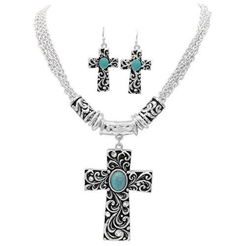 Cross with Simulated Turquoise & Rhinestones Western Look Silver Tone Necklace & Dangle Earrings Set (Black Swirl)