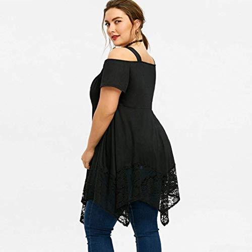 Dentelle Manches Vintage Fashion Noir Taille Chemisiers Chic lgant Haut Nues V Grande Courtes Shirts Tops Femme Et Couleur pissure Unie Mode paules Irrgulier Cou wPEScx0t