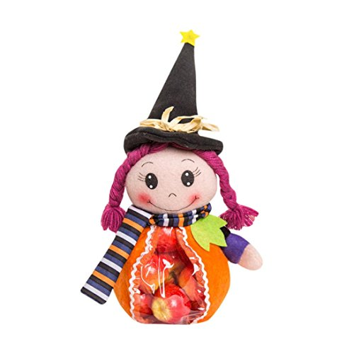 Grayscale Costume Eyes (Aitena Handmade Doll Funny Pumpkin Witch Candy Bags for Halloween (A))